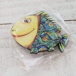 Colorful Abstract Happy Fish Wooden Brooch